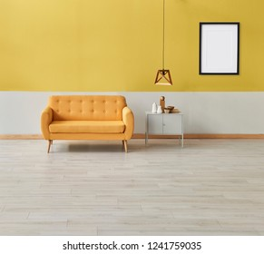 Modern room yellow white wall and yellow sofa with grey cabinet. wooden lamp and frame object. Yellow detail room.