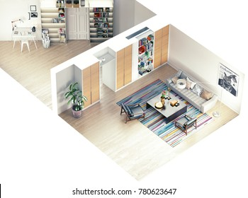 modern rooms isometric view. 3D rendering