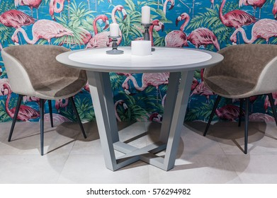 modern round table with armchairs