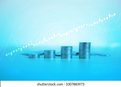 Modern rows of coins with Forex graph for finance and banking background.