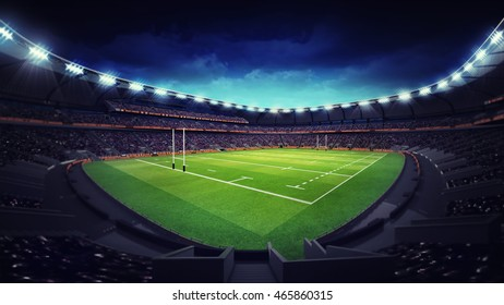 modern rugby stadium with fans at corner view, sport theme three dimensional 3D illustration