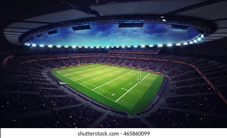 modern rugby stadium with fans under roof, sport theme three dimensional 3D illustration