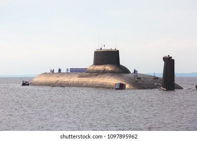 A modern russian military submarine cruiser, northern fleet and baltic sea fleet in the open sea, submarine