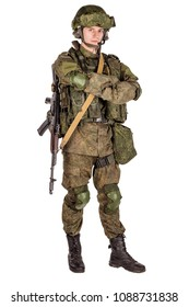 Modern russian special forces soldier with rifle on white background. army, military and people concept