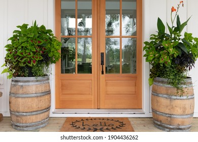 Modern rustic front door of a farmhouse