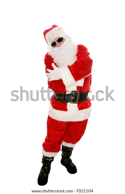 Modern Santa Claus posing in sunglasses and doing a hip hop dance move. Full body isolated on white.