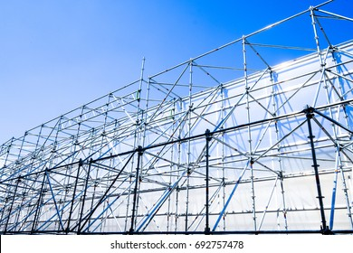 modern scaffolding at a construction site