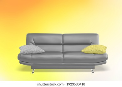 Modern scandinavian classic gray sofa with yellow pillow on yellow background. Pantone color of year 2021.