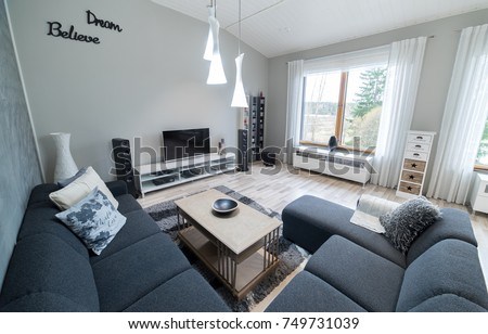 Modern Scandinavian Living Room With Home Theatre