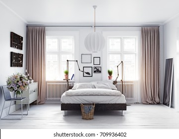 modern scandinavian style bedroom 3d concept rendering - 3d Bedroom Design