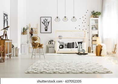 Modern scandinavian style decor of cozy baby room