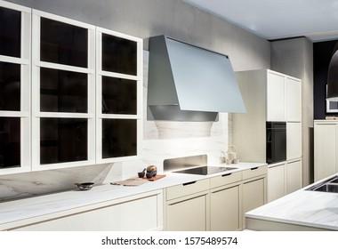 Modern Scandinavian style kitchen interior with wooden facades