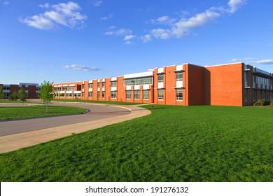 modern school building with lawn