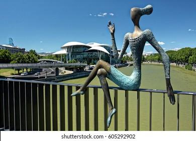 Modern sculptures on the Nikoloz Baratashvili bridge. 25 July 2016. Tbilisi. Georgia