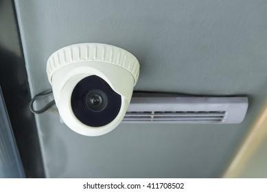 Modern of Security CCTV camera inside bus.