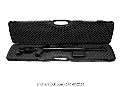 Modern semi-automatic shotgun in a hard plastic case with soft foam inside. Weapon case isolate on white background.