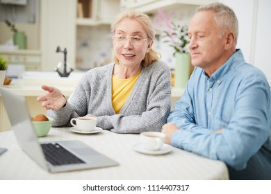 Modern senior couple sitting by table in front of laptop and discussing webcast by cup of tea