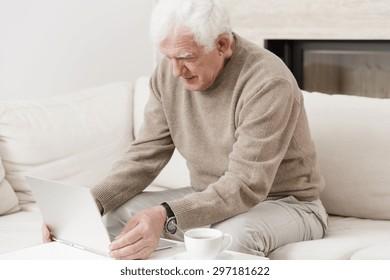 Modern senior man sitting on the sofa with laptop