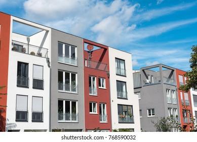 Modern serial townhouses seen in Berlin, Germany