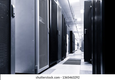 Modern server room interior in big datacenter for exchanging cyber data, cloud computing and connection, Black and white toning