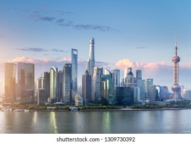 modern shanghai cityscape, pudong skyline with morning sky