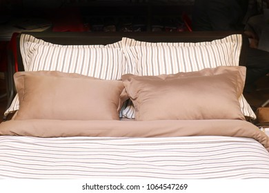 Modern sheets and pillow linens made of cotton and satin materials