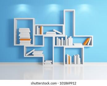 Modern shelf.3d rendered.