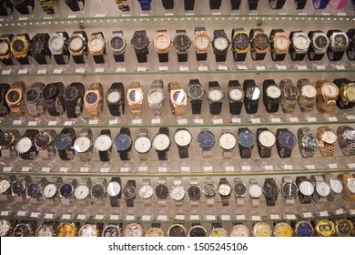 Modern showcase with many fake luxury watches. Made in China cheap products in Europe. Kitsch shop with low quality goods.  Bulgaria, Varna - 15.09.2019