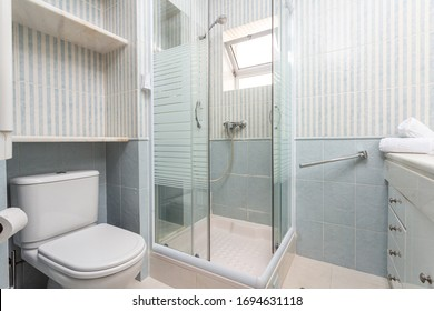 Modern shower room with a booth. European hotel design.