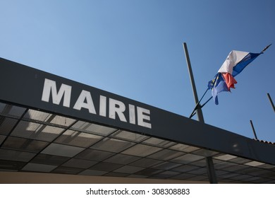 Modern sign of city hall in france with french flag