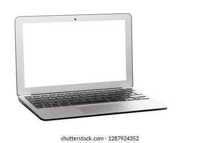 Modern silver laptop with blank screen isolated on white