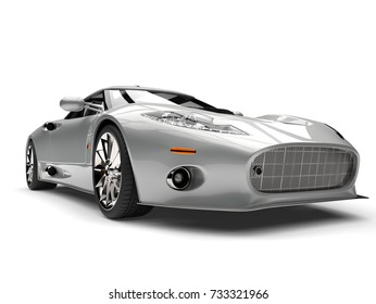 Modern silver super sports car - low angle closeup shot - 3D Illustration