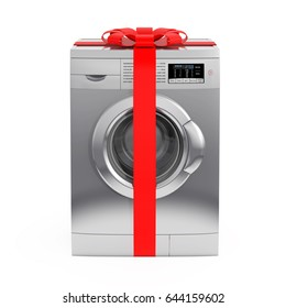 Modern Silver Washing Machine with Red Ribbon and Bow as Gift on a white background. 3d Rendering.