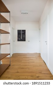 Modern and simple apartment corridor with white walls and doors, wooden floor and shelves and stylish art