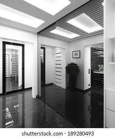 modern and simple interior of hallway at house