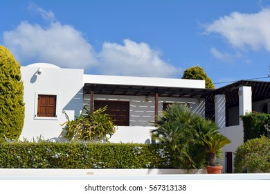 Modern simple white house and vegetation