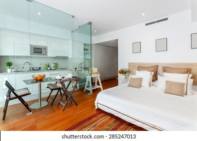 Modern single bedroom house with small kitchen