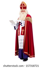 Modern Sinterklaas using a tablet instead of his book