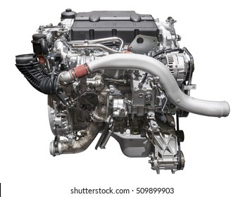 Modern six cylinder heavy duty turbo diesel engine isolated on white