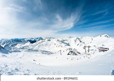modern ski resort in mountains