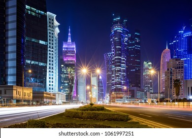 The modern skyline of the City Center Westbay in Doha, Qatar, by night