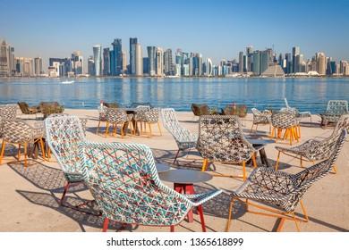 Modern skyline of Doha. Doha, Ad-Dawhah, Qatar.