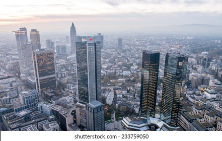 Modern skyline of Frankfurt, Germany financial business district.