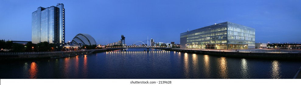 The modern skyline of Glasgow's River Clyde at dusk