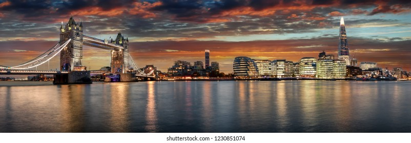 The modern skyline of London during sunset: from the Tower Bridge to London Bridge