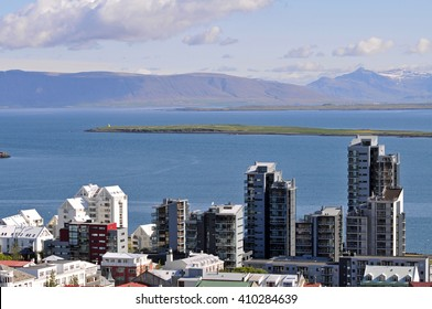 Modern skyline of Reykjavik, the capital of Iceland, towards the Atlantic Ocean.