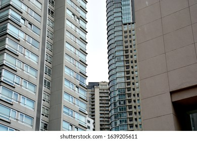 Modern skyscraper apartment and office building