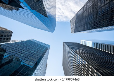 Modern skyscraper buildings in the financial district of Manhattan, New York City, USA