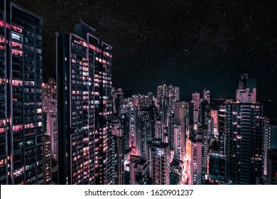 modern skyscraper city skyline at night, business district cityscape of HongKong