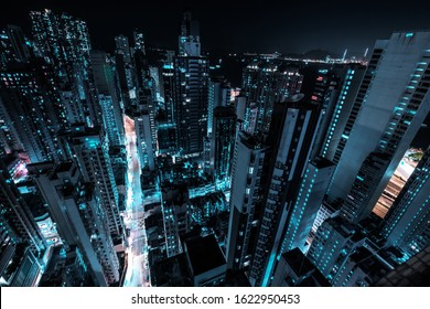 modern skyscraper city skyline at night, business district cityscape of HongKong -
